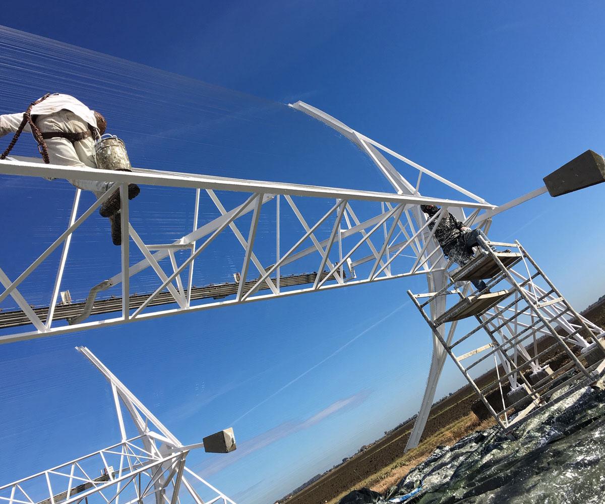 Verniciatura antenne cilindrico paraboliche e radiotelescopio   Croce Nord